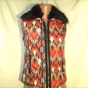 Patterned Fur Trimmed Vest by Rafaella L